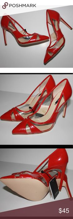 """Zara Patent Leather Red And Vinyl Stiletto Pumps Super on trend and sexy!💋 Pointed toe and see through cut outs 4"""" Heel  Brand new with tags  True to size Genuine leather Zara Shoes Heels"""