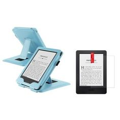"""Insten Baby Blue Leather Stand Case Cover for 2014 Amazon Kindle 6"""" eReader+Matte Screen Protector"""