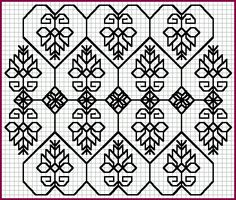 """Blackwork, heart lattice.  This technique involves very simple outline stitches, and usually one color, like black, red, or blue.  Accents can be added with gold metallic thread, which is traditional. This originated in Elizabethan times to imitate the look of lace on sleeve cuffs, collars, and necklines. It's easy to follow a gridded chart, and use the threads of the fabric as your """"grid""""."""