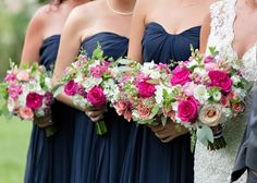 Pink and white bouquets with navy bridesmaid dresses - preppy and nautical Martha's Vineyard wedding {shoreshotz photography}