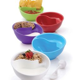 I hate soggy cereal, but I don't have to worry about it anymore! These never-soggy cereal bowls make eating cereal, chips, cookies, and anything else you dip way easier to eat! You can find these on Amazon.