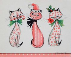 Pink Festive Kitty Cats-Vintage Christmas Card-Greeting in Collectibles, Paper, Vintage Greeting Cards, Christmas Images Vintage, Vintage Christmas Images, Old Christmas, Old Fashioned Christmas, Hallmark Christmas, Retro Christmas, Vintage Holiday, Christmas Pictures, Xmas