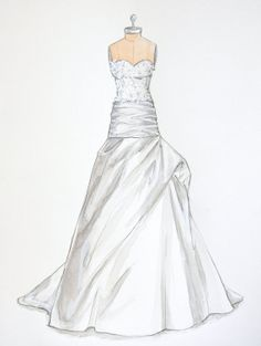 Custom Wedding Dress Illustration on Dress by ForeverYourDress, $125.00