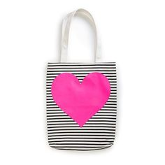do Canvas Tote Bag - Neon Pink Heart Shopper Tote, Tote Purse, Tote Handbags, Canvas Handbags, Reusable Shopping Bags, Reusable Tote Bags, Neon Bag, Heart Canvas, Striped Tote Bags