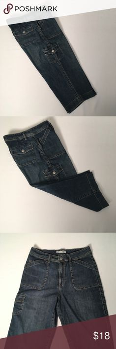 """Chicos platinum denim capris Chicos platinum denim capris Six pockets with one pocket being a cargo pocket on the right leg 98% cotton & 2% spandex yes the have some stretch  Waist 32"""" Inseam 18"""" Chico's size 1.5 / converts to a Medium or size 10   EUC Non smoking environment  No stains, snags or damage  Thanks , Molly M 1460 / W 1 Chico's Pants Capris"""