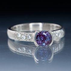 Alexandrite Half Bezel Diamond Star Dust Palladium Engagement Ring ...