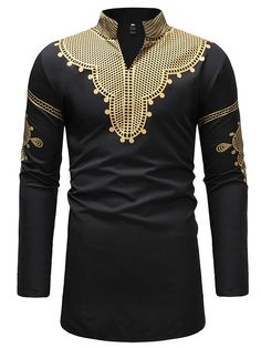 Ericdress African Fashion Dashiki Stand Collar V-Neck Mens Casual T Shirts - Fashion Style African Shirts For Men, African Dresses Men, African Attire For Men, African Clothing For Men, African Wear, Nigerian Men Fashion, African Men Fashion, Mens Casual T Shirts, Men Casual