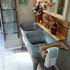 Would love a galvanized trough sink/basin setup like this in my pantry!