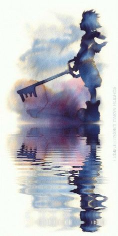 Kingdom Hearts 3, Kingdom Hearts Tattoo, Kingdom Hearts Wallpaper, Kingdom Hearts Keyblade, Dibujos Anime Chibi, Poster Print, Graphisches Design, Walking Away, Watercolor Sketch