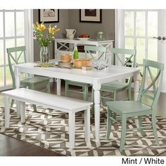 Simple Living 6 Piece Albury Dining Set With Dining Bench (White Table/ Mint