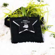 Engraved Star Bootie 1st Christmas Decoration