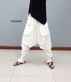 SEA harem pants white see through by Ommme on Etsy Heram Pants, Boho Pants, Sport Pants, Pants Outfit, Estilo Hippy, Baggy, Drop Crotch Pants, Romantic Outfit, Androgynous Fashion