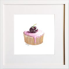 Cherry Cupcake Print Cherry Cupcakes, Irish Design, Framed Prints, Art Prints, Pigment Ink, Colour Schemes, Watercolor Paper, Wooden Frames, All The Colors