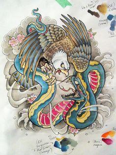 Paul Cristo Williams: Eagle and snake tattoo draft