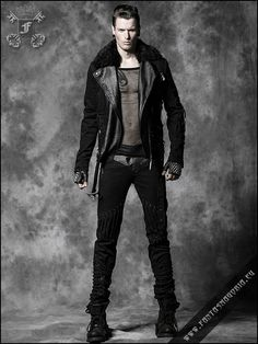 Locomotive men's jacket with removable faux fur collar. Made by Punk Rave. Item code Y-486. | Gothic, Steampunk, Rock, Fetish, and other Alt...