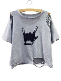 Shop Grey Gesture Print Distressed T-shirt online. SheIn offers Grey Gesture…