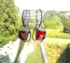 """Red glass earrings fused glass glass and silver di LaTerraCanta -25% until 15 august ..code """"HOTSUMMER"""" ENJOY!!"""