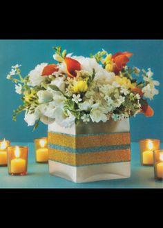glitter-striped vase from brides