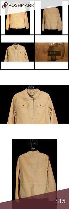 Eddie Bauer Tan Button Front Lightweight Jacket Eddie Bauer Tan Button Front Lightweight Long Sleeve Jacket  Women's Size Small Measurements on Request Excellent Condition Pre Owned Condition Rank 9/10 Thanks We Ship Fast! Eddie Bauer Jackets & Coats