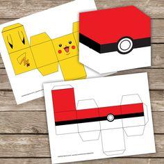Printable Pokeball and Pikachu Treat box candy, 2 different treats box, Printable, Pokemon party, Pokemon Birthday, 2 inches treat box by OKPRINTABLESSHOP on Etsy