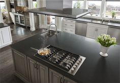 Gas cooktop in an island