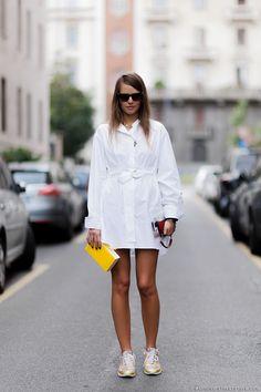 shirt dress & Chanel kicks. #CarlottaOddi in Milan.