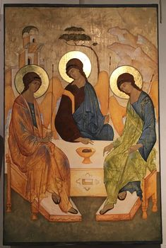 The All-Holy, Consubtantial and Undivided Trinity by Andrei Rublev aka The Hospitality of Abraham. Religious Icons, Religious Art, Andrei Rublev, Roman Church, Russian Icons, Faith Hope Love, Orthodox Icons, Christian Art, Christianity