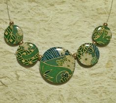 Polymer clay pendant bead set made with Japanese washi paper and sealed with resin.