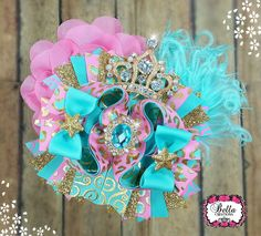 Over the top hair bow, ott hair bow, gold hair bow, bling hair bow, tiara hair bow, boutique hair bow, gold and pink bow, stacked hair bow by bellacreations123 on Etsy https://www.etsy.com/listing/242239235/over-the-top-hair-bow-ott-hair-bow-gold