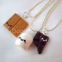 Best Friends Kawaii S'mores Polymer Clay Charms BFF Silver Necklace 3 Piece