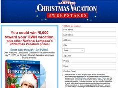 """Enter The Montgomery Ward """"Christmas Vacation' Sweepstakes for a chance to win $5,000!"""