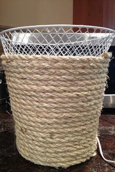 Give your trash can a rustic makeover. | 18 DIY Dollar-Store Projects That'll…