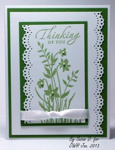 Handmade Thinking of YOu Card with Stampin' Up and Martha Stewart Border Punch. Seongsook's Creations...