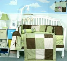 Olive and brown twin bed bedding sets | this soho sage and brown baby crib bedding set includes a ...