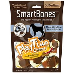 SmartBones PlayTime Dog Chews (Peanut Butter, Medium 5 Count (Pack of 2)) ~ You could find out more details at the link of the image. (This is an affiliate link and I receive a commission for the sales)