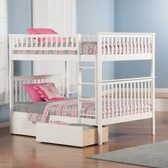 Atlantic Furniture Woodland Full over Full Bunk Bed with Storage Finish: White