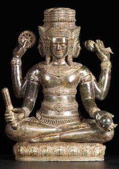 "Brass 4 Faced Brahma Statue 17"""