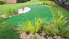 Mini golf in the backyard thanks to synthetic grass turf Yahoo better homes and gardens