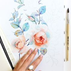 Watercolor Roses Textile design by Natalia Tyulkina on Behance