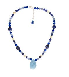 "This necklace made with Sodalite, Lapis, Blue Quartz, and White Moonstone symbolizes the AIR element and measures 16-18""."