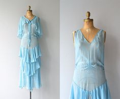 Vintage 1920s sky blue silk chiffon dress with simple styling, tiered skirt and tie collar capelet.  ✂-----Measurements  fits like: medium bust: 34