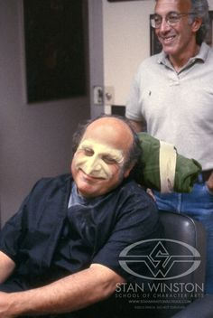 Danny DeVito and Stan Winston keep it light during the Penguin makeup test for BATMAN RETURNS.