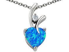 Original Star K(tm) Heart Shape 8mm Created Blue Opal Pendant in .925 Sterling Silver:Amazon:Jewelry
