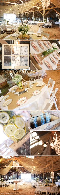 Hard to see in these pics, but these centerpieces would be great! white flowers, branches, and lemons in the water to add yellow. So cute!  I really like the mismatched plates idea!