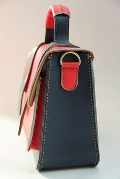 Handmade Artisan Genuine Leather Womens Handbag / Satchel / Messenger Bag - Black with Red (m56-3) find more women fashion on www.misspool.com Clothing, Shoes & Jewelry - Women - handmade handbags & accessories - http://amzn.to/2kdX3h7