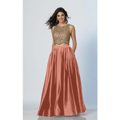 Dave and Johnny A5268 Prom Ball Gown Long High Neckline Sleeveless ($368) ❤ liked on Polyvore featuring dresses, gowns, formal dresses, peach, long prom gowns, long evening gowns, peach prom dresses, long gown and prom gowns