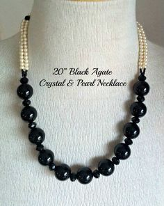 Black Agate, Crystal, Pearl Necklace