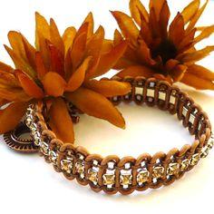 Galaxy Copper Leather and Colorado Topaz Rhinestone Bracelet | KatsAllThat - Jewelry on ArtFire