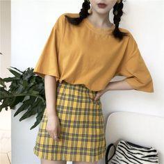 Buy Dute Plain Short-Sleeve T-Shirt / Plaid A-line Skirt Yellow Sweater Outfit, Yellow Skirt Outfits, Yellow Plaid Skirt, Pencil Skirt Outfits, Plaid Fashion, Skirt Fashion, Fashion Outfits, Basic Outfits, Korean Outfits