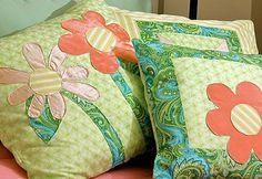 how to applique.  Plus, aren't those cute pillows?